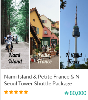 Nami Island & Petite France & N Seoul Tower Shuttle Package Indiway