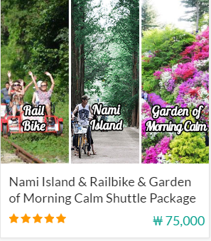 Nami island & Railbike & Garden of Morning clam shuttle Package Indiway