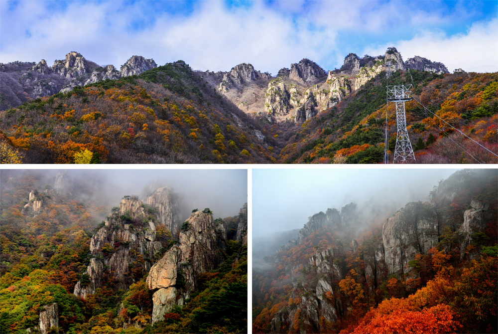 Striking autumn foliage view from Daedunsan Mountain