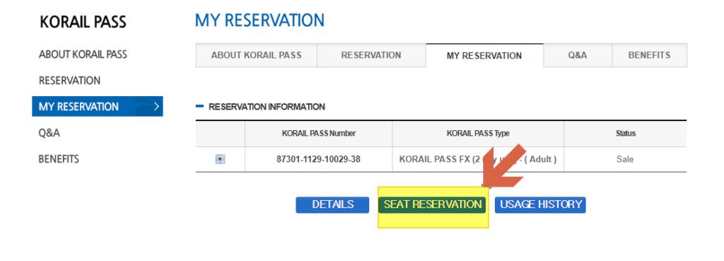 kr pass seats reservation