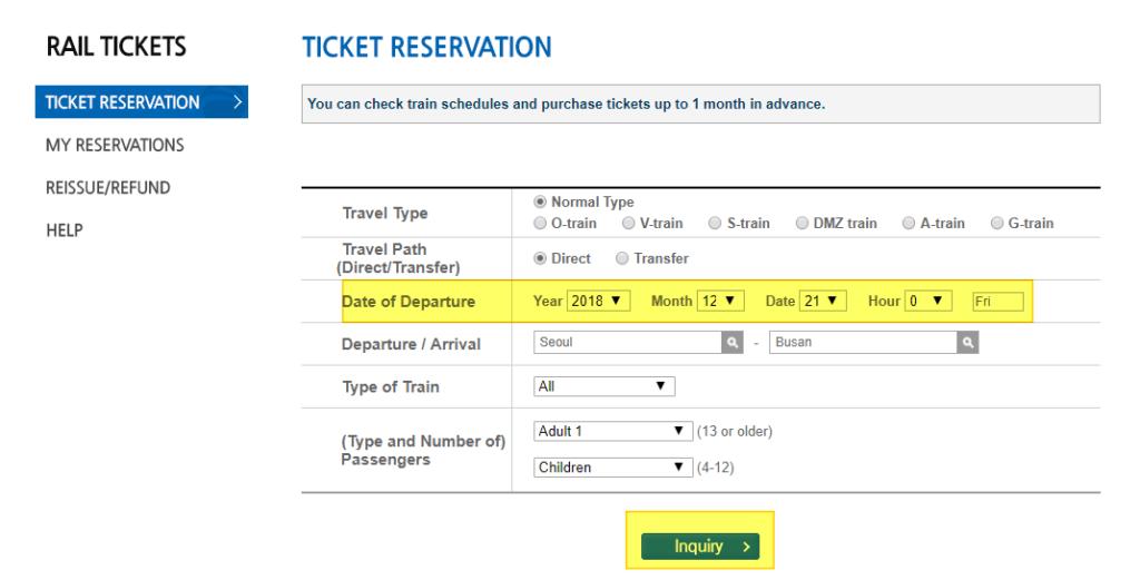 KTX Ticket reservation